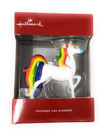 Amazon Com  Hallmark Rainbow Unicorn 2018 Christmas Ornament  Toys