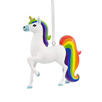 Amazon Com  Hallmark Unicorn With Rainbow Mane Christmas Ornament