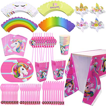 Amazon Com  Konsait Unicorn Party Supplies Set Disposable