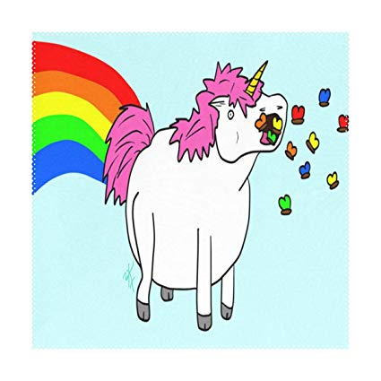 Amazon Com  Lovebea Placemats Fat Unicorn Eating Rainbow Square