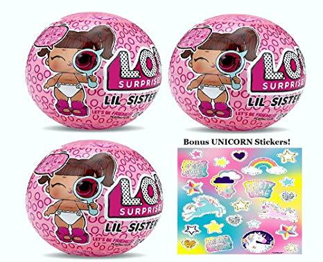 Amazon Com  Mga Lol Surprise! Lil Sisters Series 4 (3 Pack) Bonus