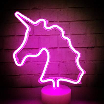 Amazon Com  Mumuxi Unicorn Led Neon Light With Holder Base