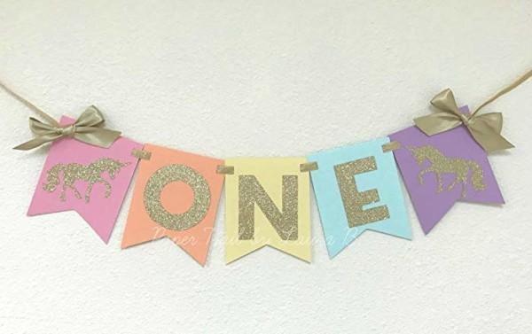 Amazon Com  Rainbow Pastel Unicorn 1st Birthday High Chair Banner