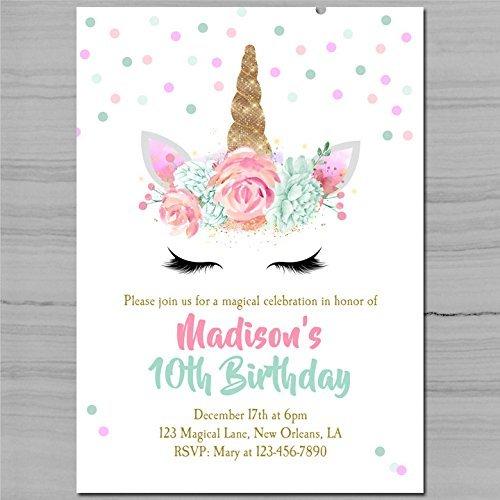 Amazon Com  Unicorn Birthday Invitation Printable Or Printed