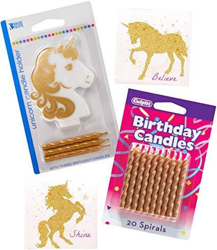 Amazon Com  Unicorn Candle Birthday Cake Bundle ~ Unicorn Holder