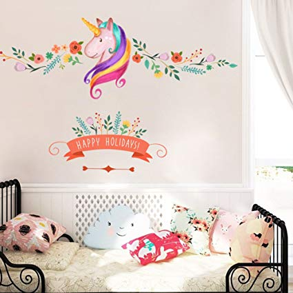 Amazon Com  Unicorn Wall Decor Sticker Decals Girls Bedroom Wall