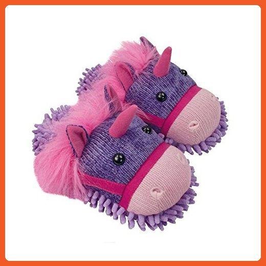 Aroma Home Fuzzy Friends Womens Unicorn Slippers, Purple, 9 5