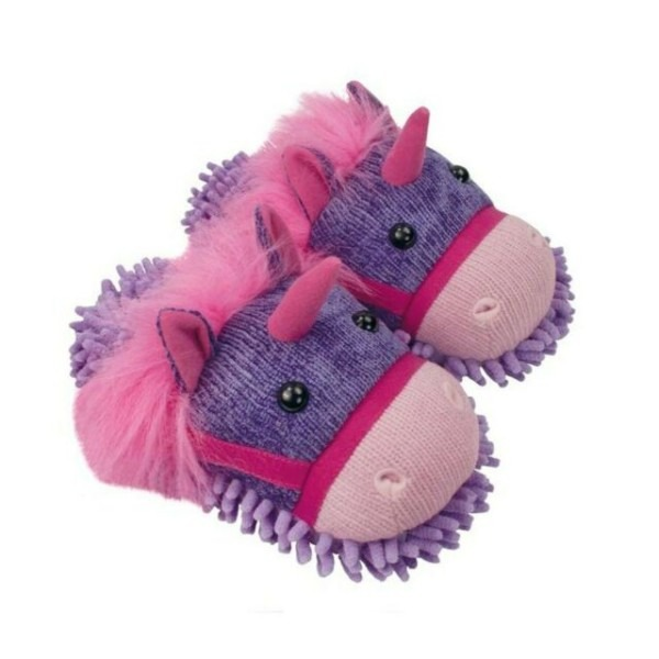 Aroma Home Fuzzy Friends Womens Unicorn Slippers Purple 9 5 For