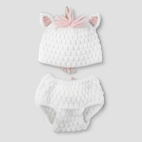 Baby Girls' Unicorn Hat & Diaper Cover Set