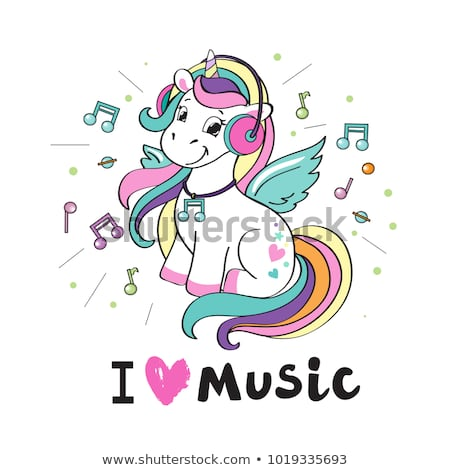 Beautiful Unicorn Headphones Inscription Love Music Stock Vector