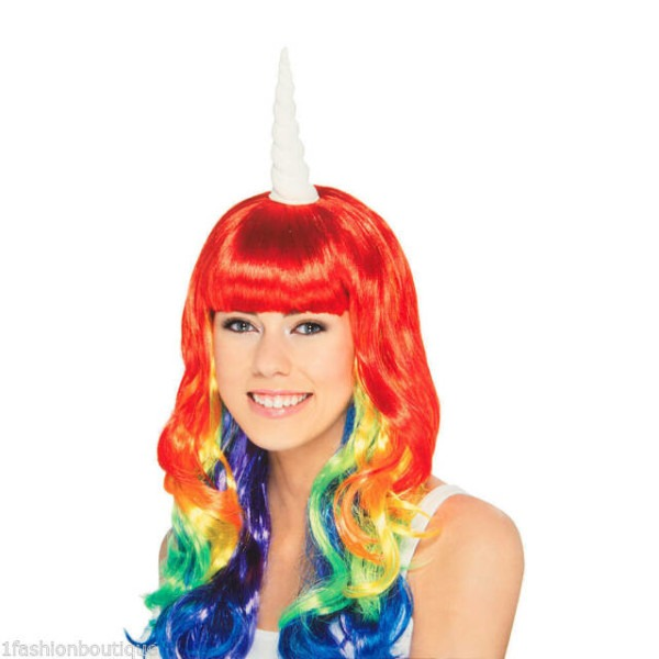 Claires Halloween Rainbow Fashion Unicorn Wig Adult Costume