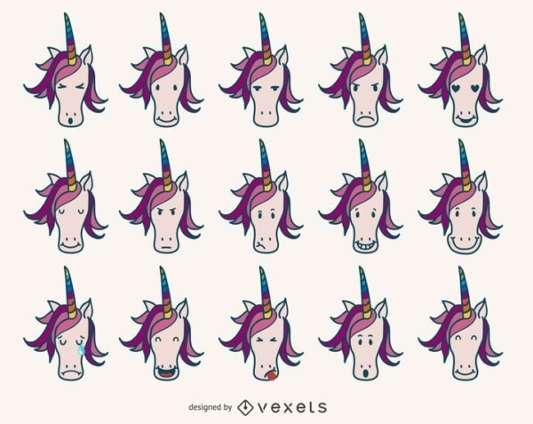 Collection Of Unicorn Emoji Featuring Lots Of Unicorns In