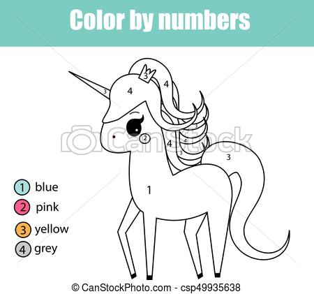 Coloring Page With Unicorn Character  Color By Numbers Educational