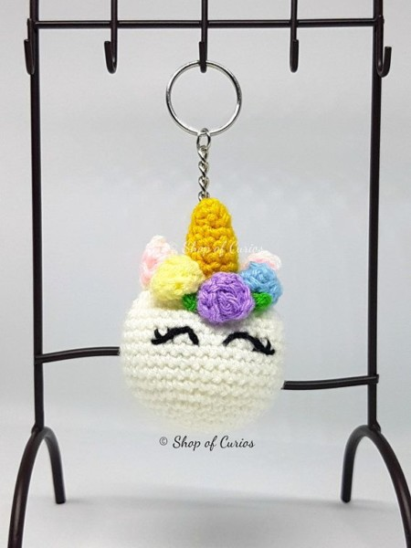 Crochet Colorful Unicorn Keychain, Amigurumi Keychain, Crochet