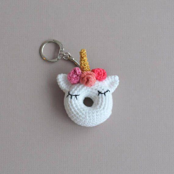 Crochet Unicorn Keyring  Crochet Doughnut Keyring  Amigurumi