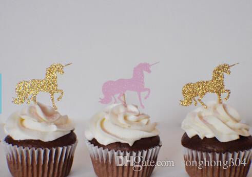 Custom Glitter Unicorn Cupcake Toppers Bachelorette Party Wedding