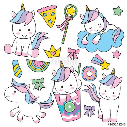 Cute Baby Unicorn Vector Illustration In Pastel Rainbow Colors