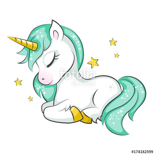 Cute Magical Unicorn  Vector Design On White Background  Print For