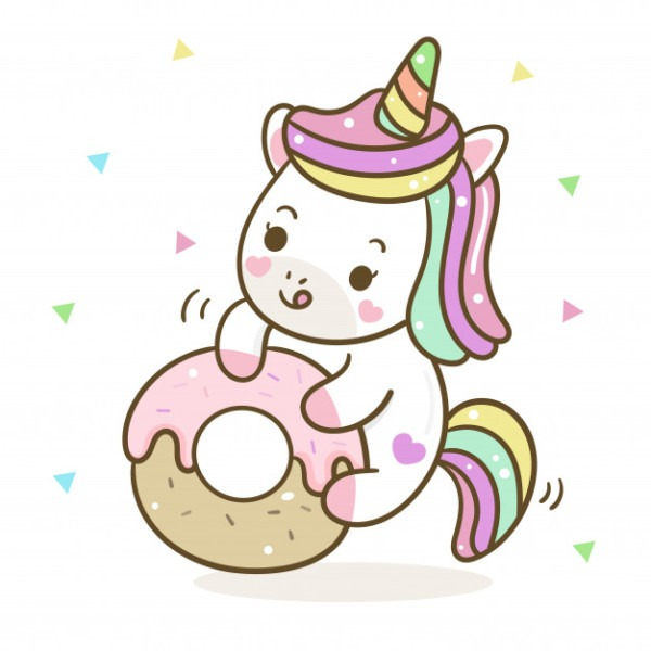 Cute Unicorn Vector With Pastel Donut Vector