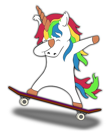 Dabbing Unicorn Skateboard Tshirt Skating Tee  Posters By