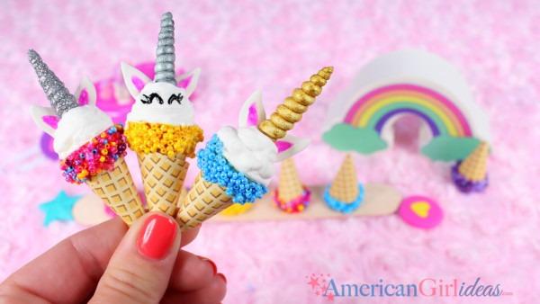 Diy American Girl Unicorn Ice Cream Cones • American Girl Ideas
