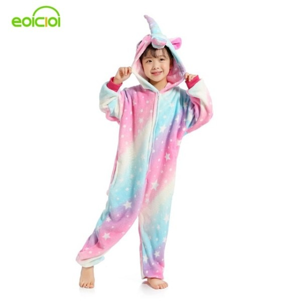 Eoicioi New Animal Starry Sky Pegasus Unicorn Pyjamas Flannel Kids