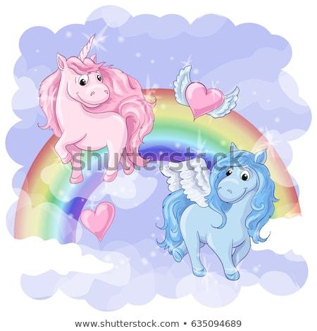Fantastic Postcard Pegasus Unicorn Rainbow Hearts Stock Vector