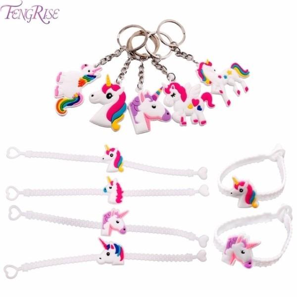 Fengrise Unicorn Wristband Cute Key Chain Kids Birthday Party