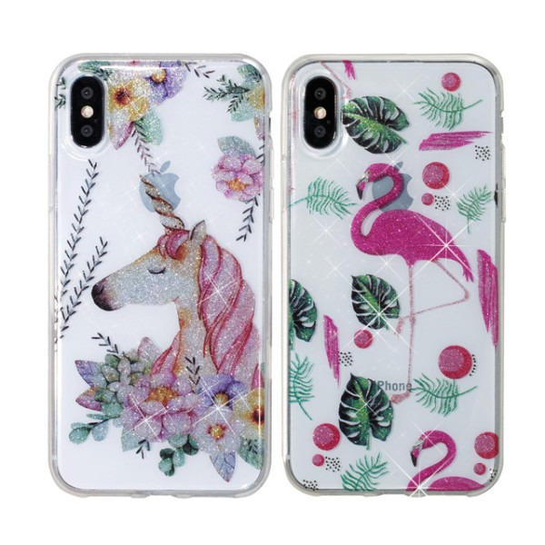 Flamingo Unicorn Glitter Case For Iphone X Xs 5 5s Mandala Lace