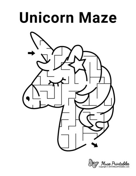 Free Printable Unicorn Maze