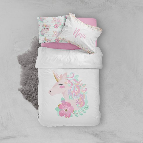 Girls Room Unicorn Bedding Set Toddler Twin Full Queen