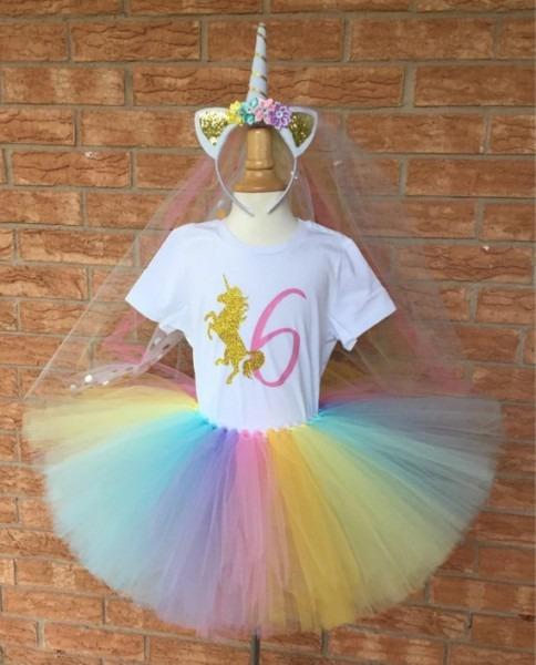 Girl's Unicorn Birthday Outfit, 6th Birthday Tutu, Rainbow Unicorn