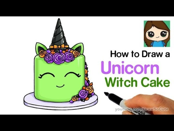 How To Draw A Unicorn Witch Cake Easy
