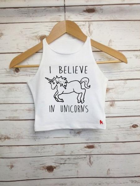 I Believe In Unicorns Crop Top Fairytale Cropped Vest Ladies