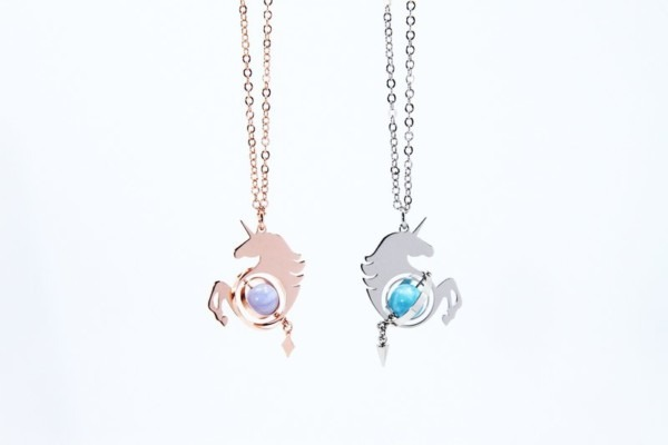Illusions Unicorn Necklace   Rose Gold & Silver