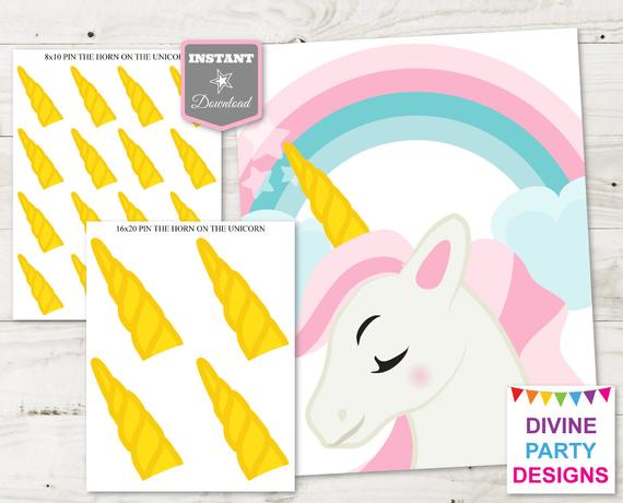 Instant Download Unicorn Printable 16x20 Pin The Horn On The