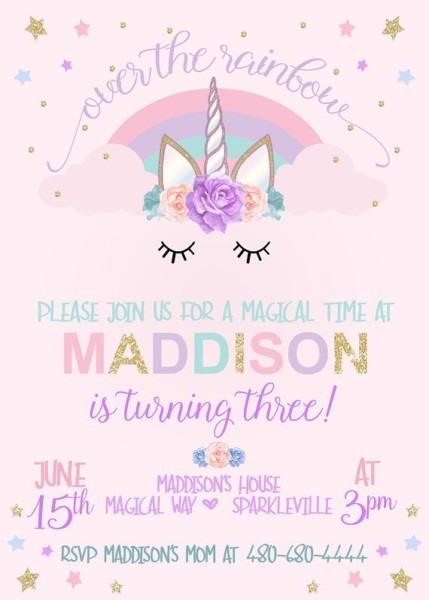Invitation Template  Unicorn Birthday Invitations Free