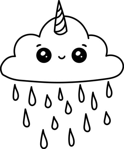 Kawaii Unicorn Cloud Coloring Page