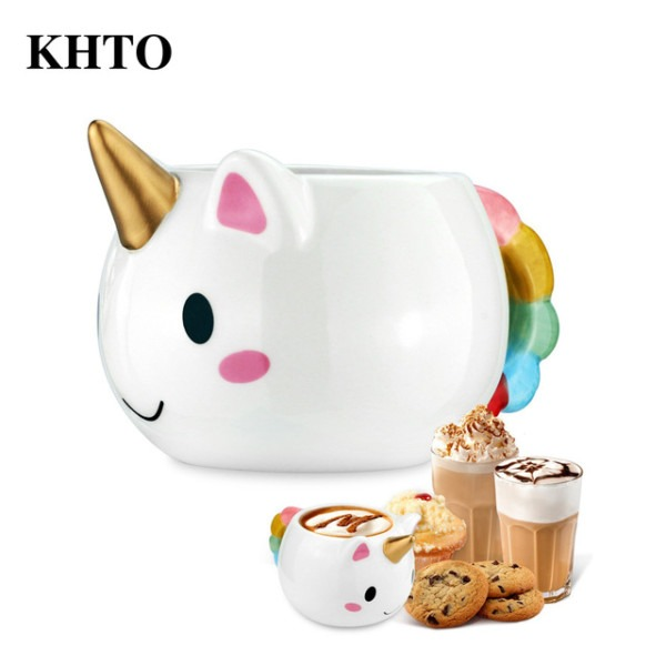 Khto Unicorn Mug 300ml Rainbow Horse Unicorn Mugs Cup Cuteness 3d