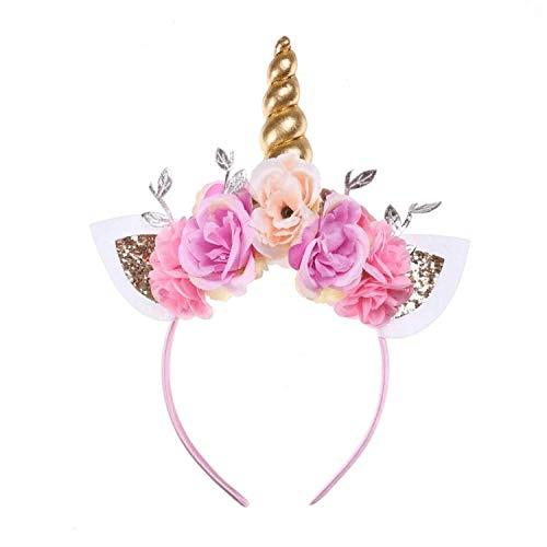 Kids Girls Unicorn Headband Gold Horn Ears Flower Glitter Flowers
