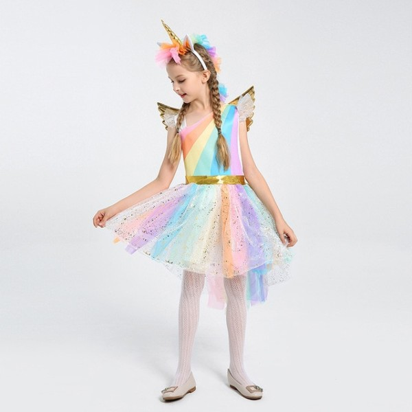 Kids Magical Rainbow Horse Fantasy Child Girls Unicorn Halloween
