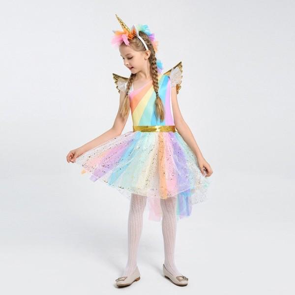 Kids Magical Rainbow Horse Fantasy Child Girls Unicorn Halloween