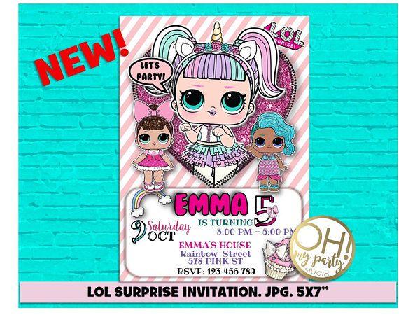 Lol Surprise Birthday Invitation, Lol Surprise Unicorn, Lol