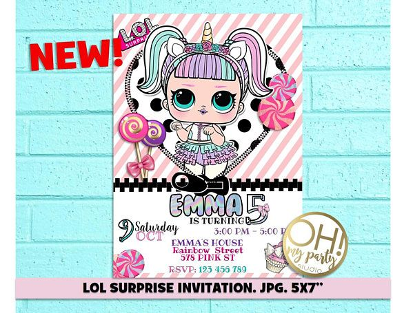 Lol Surprise Unicorn, Lol Surprise Birthday Invitation, Lol
