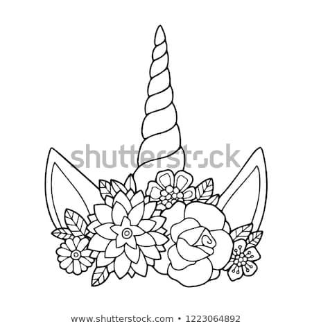 Lovely Vector Drawing Unicorn Horn Mane Stock Vector (royalty Free