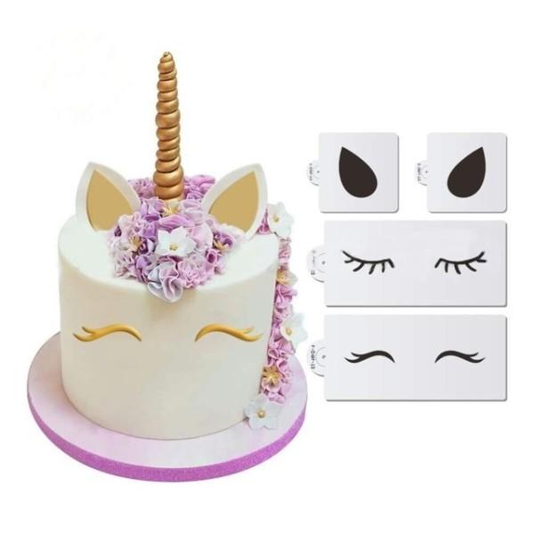 Luyou 4pcs Set Diy Cartoon Unicorn Cake Stencil Art Printing Spray