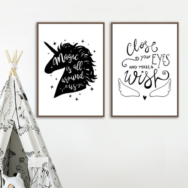 Magic Unicorn Quotes Wall Art Canvas Painting Black White Posters