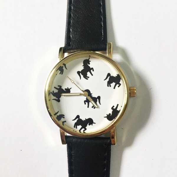 Magical Black On White Unicorn Watch, Vintage Style Leather Watch