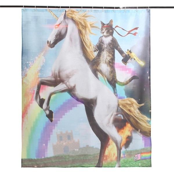 New!!!cartoon Funny Unicorn And Cat Polyester Fabric Waterproof
