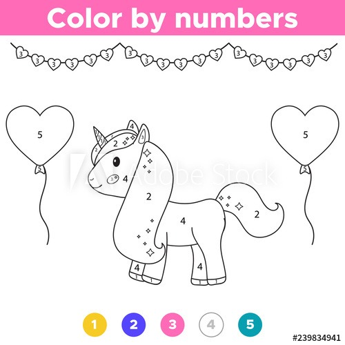 Number Coloring Page  Cute Cartoon Unicorn With Balloons